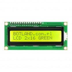 LCD displej 2x16 znaků zelený s konektory