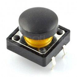 Taktický spínač 12x12 mm s kulatým víčkem - černý