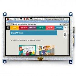 "LCD TFT 5 ""800x480px odporová dotyková obrazovka HDMI + USB pro Raspberry Pi 2 / B +"