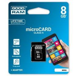 Paměťová karta Goodram micro SD / SDHC 8 GB třídy 4 s adaptérem