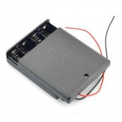 Koš na 4 baterie AA (R6) s krytem a vypínačem