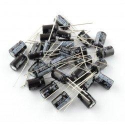 Popsaná sada elektrolytických kondenzátorů THT HV - 107 ks.