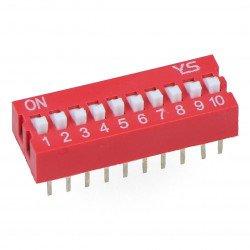 Przełącznik dip switch 10-polowy - czerwony