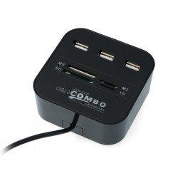 HUB USB 2.0 AK219 3-portový se čtečkou paměťových karet