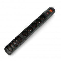 Prodlužovací kabel s bezpečnostním Acar S10 černý - 10 zásuvek - 1,5 m