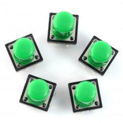 Taktický spínač 12x12 mm s krytkou - dlouhý zelený