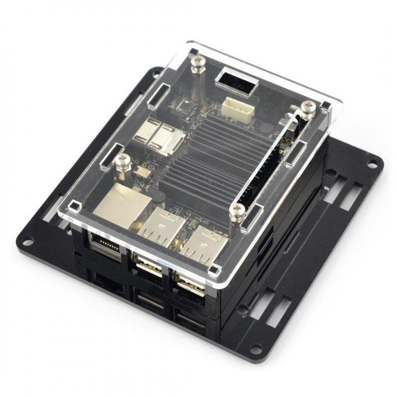 Pouzdro pro Odroid C2 - VESA pro montáž monitoru - černé a průhledné