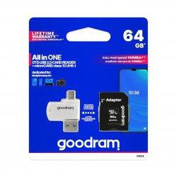 Goodram All in One - 64 GB paměťová karta micro SD / SDHC třídy 10 + adaptér + čtečka OTG