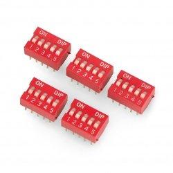 5pólový DIP spínač - červený