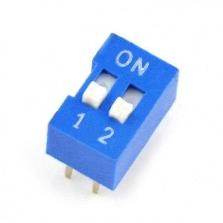 2pólový DIP přepínač - modrý