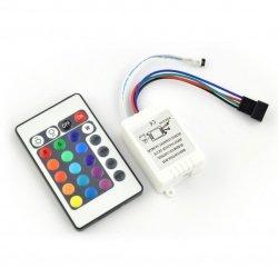 Sterownik taśm i pasków LED RGB z pilotem IR - 24 klawisze