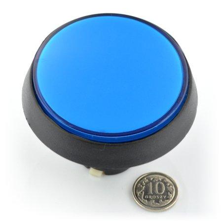 Modré tlačítko.