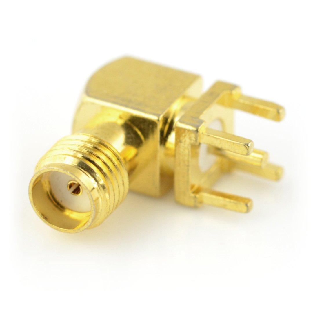 Zásuvka SMA pro PCB, úhlová - 50Ω