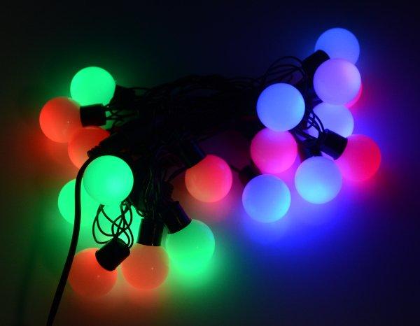 Osvětlení vánočních stromků LED koule - RGB - 19 ks.