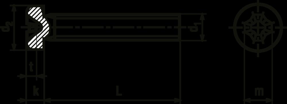 Průřez šroubu M2,5x10mm